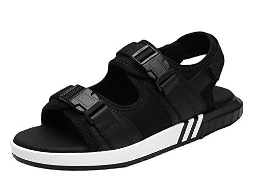 Icegrey - Sandalias de vestir de Piel Lisa para hombre negro