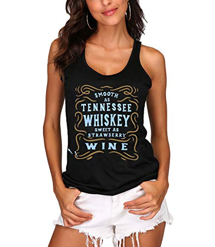 LUKYCILD Whiskey Tank Top Smooth As Tennessee Whiskey Shirt Top Women Summer Beach Vacation Vest Top Shirt, Size M Black