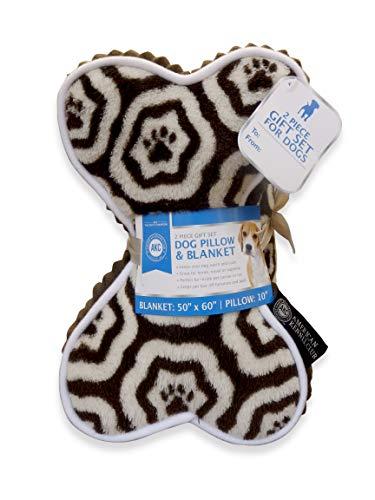 American Kennel Club AKC Paw Print Pet Blanket & Pillow Gift Set, 2 PC, - Paw Club Prints Dog