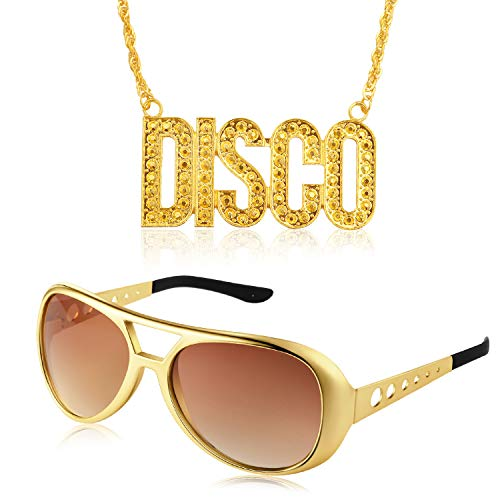 Disco Costume Set 1 Pair of 50's 60's Rockstar Disco Sunglasses and 1 Piece Disco Sign Necklace for Teens and Adult Gold ()