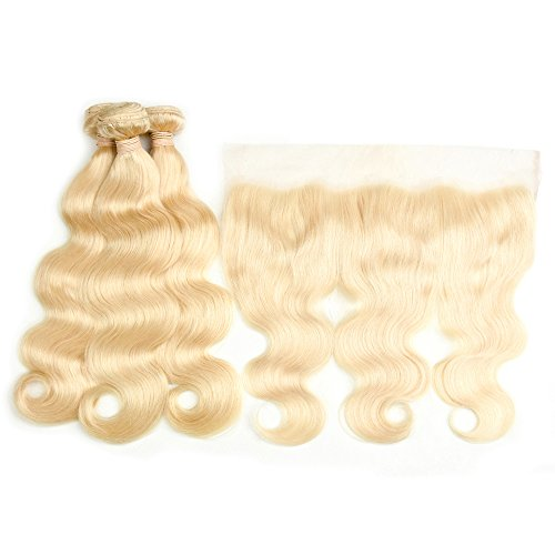 DACHIC 613 Blonde Human Hair 3 Bundles with Frontal Brazilian Body Wave with Frontal 100% Virgin Human Hair Weave with Lace Frontal (12 12 14+10)
