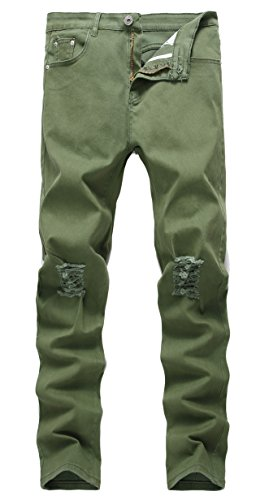 Men's Army Green Skinny Ripped Slim Fit Stretch Designed Destroyed Denim Jeans