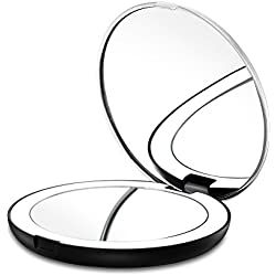 Gotofine LED Lighted Travel Makeup Mirror, 1X & 7X Magnification - Double Sided, Luxury, Portable, Compact, Illuminated Folding Travel Mirror