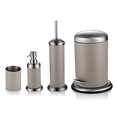 Malmo 4 pcs Bathroom Accessories Set Lotion dispenser, Toilet Brush, Toothbrush cup & Trash Can