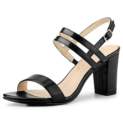 Allegra K Women's Slingback Block Heel Ankle Strap Black Sandals - 10 M US ()