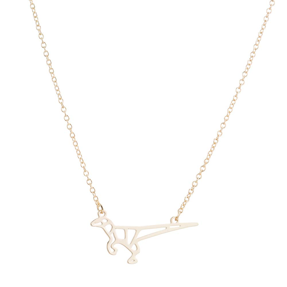Eiffy Origami Dinosaur T-Rex Pendant Necklace for Women Kids Geometric Animal Necklace Choker Hypoallergenic Jewelry Silver