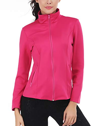 FISOUL Women's Running Sport Jacket Lightweight Full Zip Workout Track Jacket with Zipper Pockets(Red,Small)