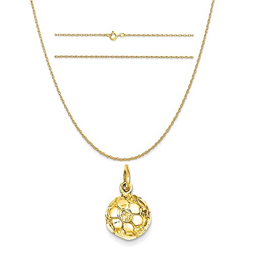 14k Yellow Gold Soccer Ball Charm on a 14K Yellow Gold Carded Rope Chain Necklace, 20