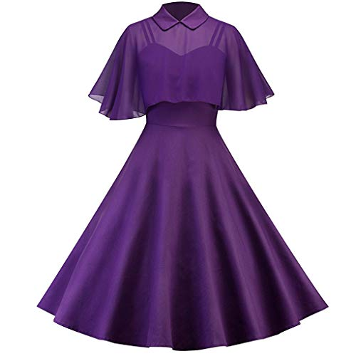 Caopixx Dress for Women's Elegant Classy V-Neck Audrey Hepburn 1950s Vintage Rockabilly Swing Dress -
