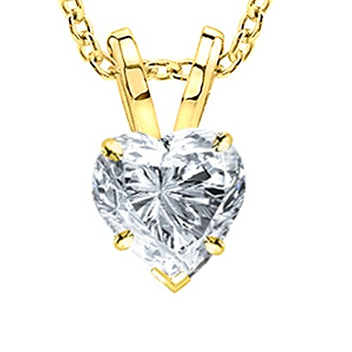 Heart Diamond Real Gold (1 Carat 14K Yellow Gold Heart Diamond Solitaire Pendant Necklace 4 Prong H-I Color SI2-I1 Clarity)