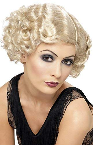 Ladies 1920's 20's Gangster Polly Grace Flapper Charleston TV Film Short Curly Fancy Dress Costume Wig (Blonde) -