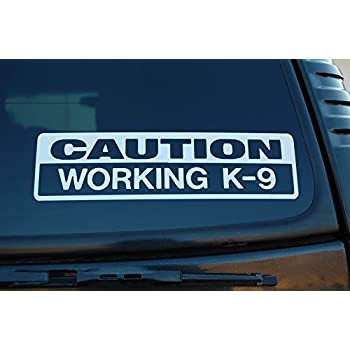 Caution working k9 vinyl sticker decal police dog law enforcement choose color x 1 75 white