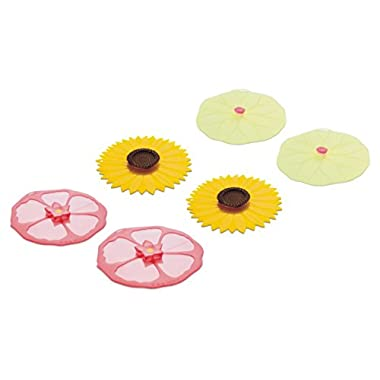 Charles Viancin Drink Covers or X-Small Lids - Set of 6 Hibiscus, Sunflower and Lily Pad