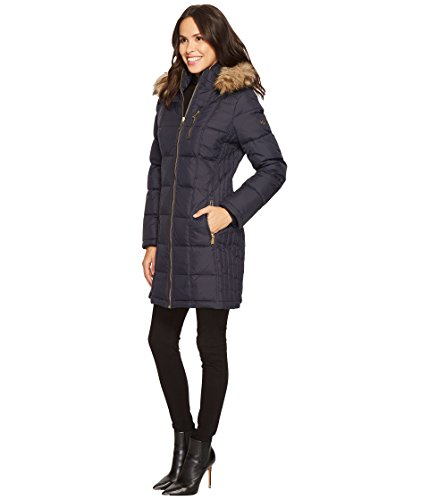 MICHAEL Michael Kors Womens Zip Front Down With Faux Fur Trim Hood M821883T New Navy LG One Size