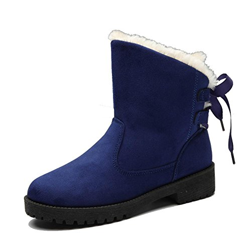 wdjjjnnnv Women Short Boots Cotton Suede Flat Heel Straps Shoelace Thicker Plush Warm Ankle Casual Shoes BLUE-39 zcOillp