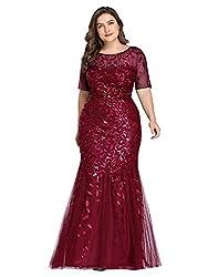 Plus Size Embroidery & Sequins Burgundy Colour Maxi Dress