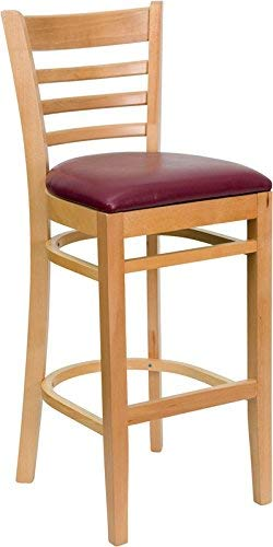 Flash Furniture HERCULES Series Ladder Back Natural Wood Restaurant Barstool - Burgundy Vinyl Seat (Cane Back Stools Bar)