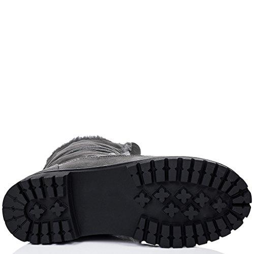 SPYLOVEBUY BABA Mujer Cordone Planos Botes Bajas Zapatos Gris - Gamuza Sintética