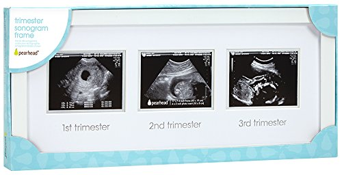 Pearhead Triple Sonogram Pregnancy Keepsake Frame, Watch Baby Grow Through all Three Trimesters - Great Gift For Expecting Parents, White