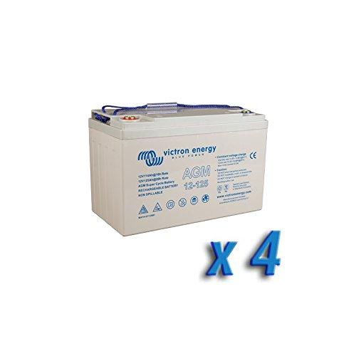 Victron Energy - Set 4 x Batterie 125Ah 12V AGM Super Cycle Victron Energy Photovoltaïque Nautiqu - BAT412112081x4