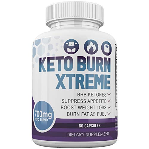 Keto Burn Xtreme Diet Pills - BHB Ketones - Suppress Appetite - Boost Weight Loss - Burn Fat As Fuel - for Women and Men - 700mg Keto Blend - 30 Day Supply - 60 Capsules