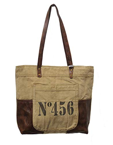 (Chloe & Lex Women's Vintage Upcycled Canvas and Leather No.456 Tote)