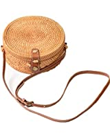 Via Moi Iron Round Rattan Woven Women's Shoulder Bags Durable Real Leather Strap Floral Side