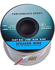 100ft (30m) Pro Series 12 Gauge 2-Conductor Speaker Wire (100 Feet / 30 Meter) 12AWG White 99.9% Oxygen Free Copper ETL Listed & CL2 Rated with White PVC Jacket (for in-Wall Installation) (CNE778675)