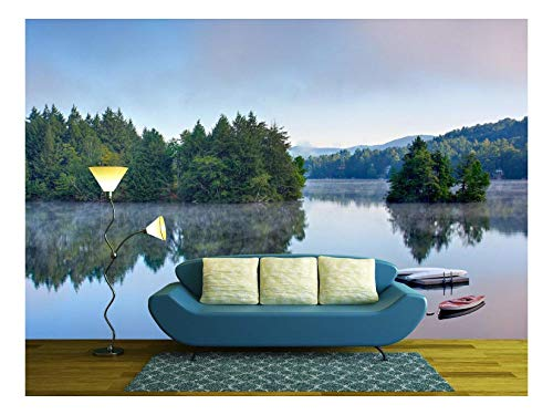 (wall26 - a Lake in The Early Morning with Fog on The Water. a Boat and Dock are in The Foreground. - Removable Wall Mural | Self-Adhesive Large Wallpaper - 100x144 inches )
