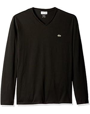 Men's Long Sleeve Jersey Pima Reg Fit V Neck T-Shirt, TH6711