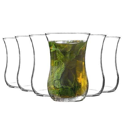 Rink Drink Te cafe Vasos Set 6pc Klasik Turco - Forma del tulipan de Cristal - 115 ml - Claro