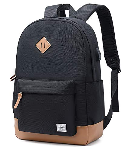 Abshoo Classical Basic Womens Travel Backpack For College Men Water Resistant Laptop Bookbag (USB Black)