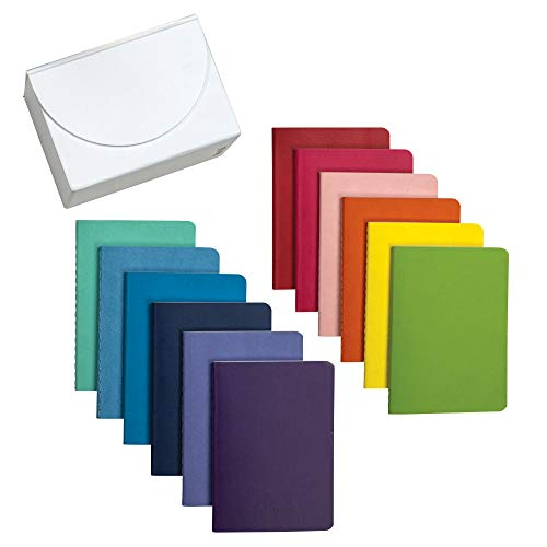 Samsill Soft Cover Mini Journals Assorted Rainbow Color 12 Pack/Lined Small Notebooks 3.5