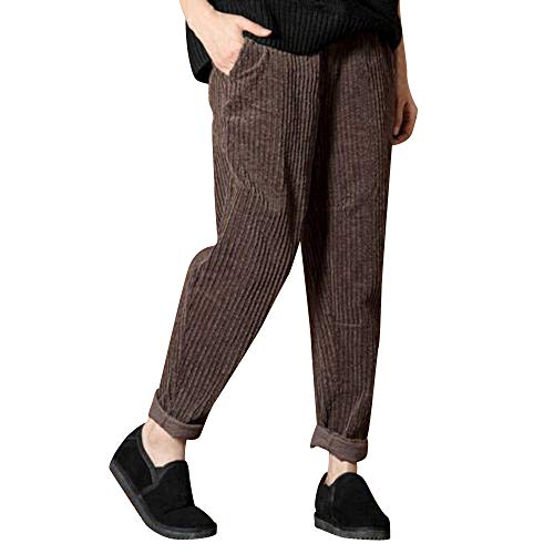 BODOAO Women Casual Corduroy Harem Pants Elastic Waist Pocket Trousers Lounge Pant Brown