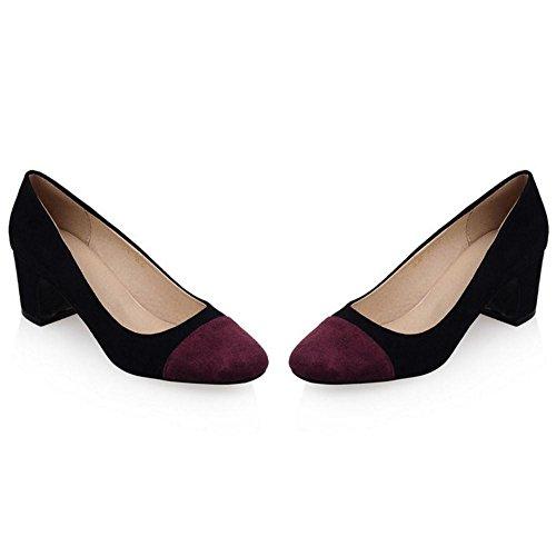 Fashion Women Black Zuban Block Heel Chila Pumps EvwqFF