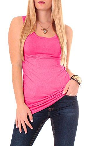 Camiseta espalda nadadora de algodón, camiseta de tirantes, de un color, básica, larga rosa Talla única
