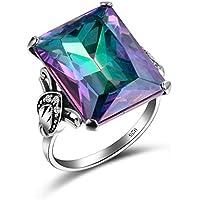 Siam panva 925 Silver Ring 4.3CT Mystic Rainbow Topaz Women Men Wedding Engagement Size6-10 (9)