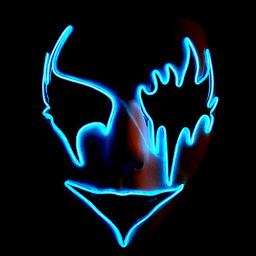 Circle Circle El Wire Glowing Mask Luminous LED Light Up Cool Christmas Halloween DJ Birthday Cosplay Death Grimace Masks for Festival Party Show (Blue 2)