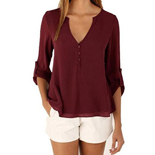 3 Button Casual Shirt - DRESHOW Chiffon Blouse 3/4 Sleeve Loose Button Down Shirt For Women Normal US Size Size M Burgundy