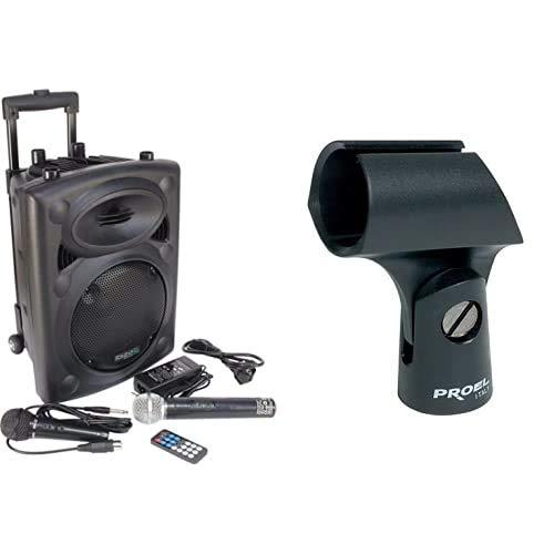 Ibiza PORT8VHF-BT-WH Impianto audio portatile cassa attiva (400 Watt, ingressi USB SD MP3, 2 microfoni, batteria integrata, telecomando) & Proel APM10 Supporto in ABS per Microfono con aggancio