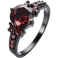 Kassarin Shop Vintage Ruby Red Garnet Wedding Promise Band Ring 10KT Black Gold Filled Sz 6-10 (7)