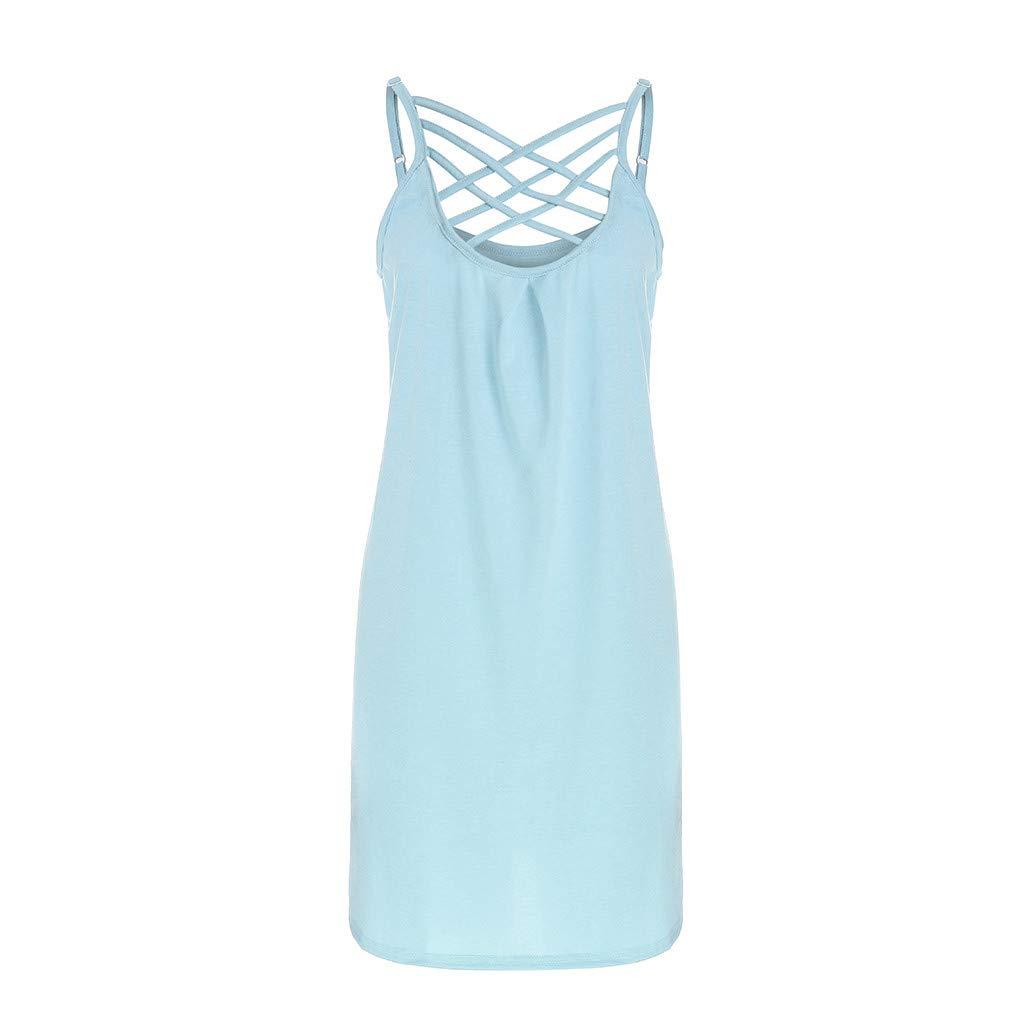 YJYdada/_ Blouse Womens Ladies Solid Sleeveless Mini Dress Camisole Criss Cross Summer Dress M, Purple