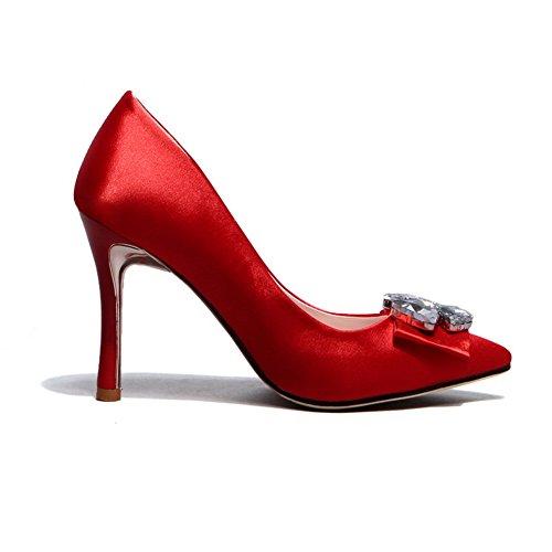 Amoonyfashion Kvinna Tryckning Pekade Sluten Tå Höga Klackar Pådrag Fasta Pumpar-skor Röd
