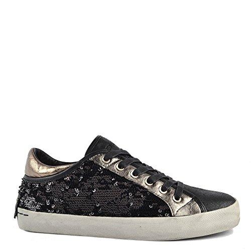 Crime London Shoes Faith Lo Black Sequin Low Top Trainer Black