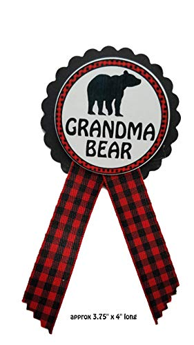 Grandma to Be Pin Buffalo Plaid Grandma Bear Baby Shower Pin to wear at Gender Reveal, Red & Black Pin, Baby Sprinkle ()