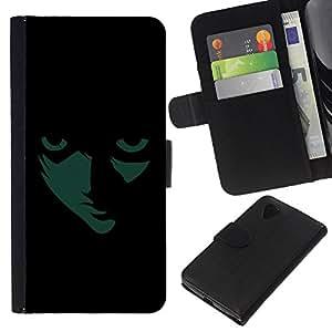 KLONGSHOP // Tirón de la caja Cartera de cuero con ranuras para tarjetas - Máscara animado Cara de la sombra muchacho de la historieta Carácter - LG Nexus 5 D820 D821 //