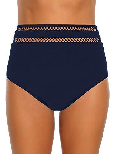 GRAPENT Women's High Waisted Mesh Stripe Panel Swim Bottom Bikini Tankini Swimsuit Briefs Size M Navy Blue