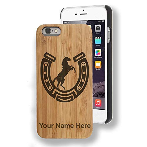 Bamboo case Compatible with iPhone 6 and iPhone 6s, Horseshoe with Horse, Personalized Engraving Included