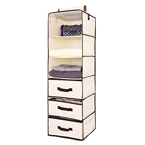 Hanging Closet Organizer, Foldable Closet Hanging Shelves with 2 Drawers & 1 Underwear Drawer By StorageWorks, Polyester Canvas, Natural, 6-Shelf, 13.6x12.2x42.5 inches