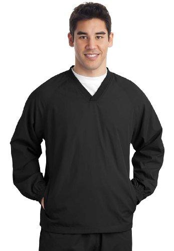 (Sport-Tek V-Neck Raglan Windshirt (JST72) Wind Shirt Available in 8 Colors X-Large Black)